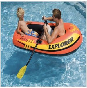 """BRAND NEW IN BOX BOAT EXPLORER 200, 13-GAUGE VINYL CONSTRUCTION, INFLATABLE, WEIGHT CAPACITY 210 lbs, DEFLATED DIMENSIONS 18.6""""Lx10.7""""w 3.8""""H $25 ea for Sale in Los Angeles, CA"""