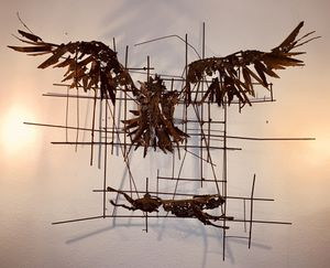 Metal Artwork Abstract Eagle Hunting Rabbit Original for Sale for sale  Inglewood, CA