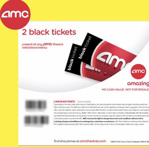 2 AMC Black Ticket Movie. No Exp. Any movie, Anyday for Sale in Long Beach, CA