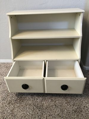 Gorgeous vintage white bookcase bookshelf with drawers for Sale in Gilbert, AZ