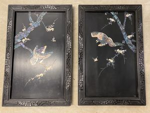 Pair of Japanese Lacquer Mother of Pearl Panels for Sale in Falls Church, VA
