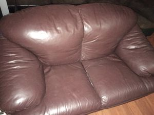 Loveseat and chair, soft Italian leather, brown for Sale in Houston, TX