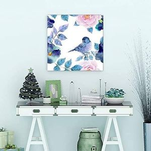 ((FREE SHIPPING)) Square canvas wall art - watercolor painting of a blue bird with floral background Painting like print for Sale in MONTE VISTA, CA