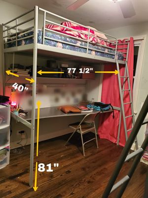 Ikea loft bed with desk and shelf (read ad) for Sale in Chicago, IL