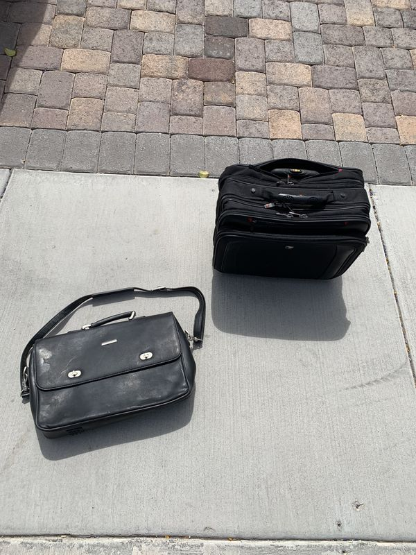 Leather Briefcase and Swiss rolling laptop bag