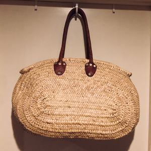 Vintage Woven Wicker/Leather Tote Bag for Sale in Austin, TX