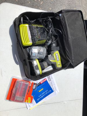 Ryobi 12v cordless drill, case, 2 batteries, charger, drill bit set for Sale in Annandale, VA