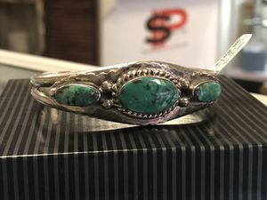 Turquoise Cuff Bracelet Signed Native American Sterling Silver Old Pawn for Sale in Scottsdale, AZ