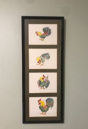 SET OF TWO FRAMED FABRIC DRAWN ROOSTERS for Sale in Wichita, KS