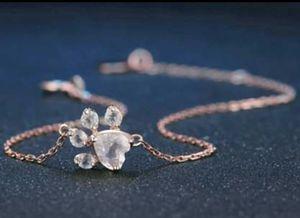 Paw Natural Rose Quartz 925 Sterling Silver Bracelet for Sale in Wichita, KS