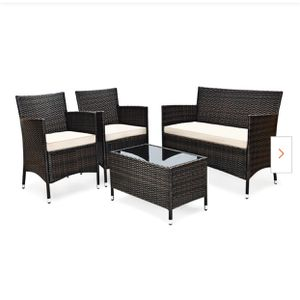 New 4-Piece Rattan Patio Conversation Set with Cushion Beige for Sale in Hacienda Heights, CA