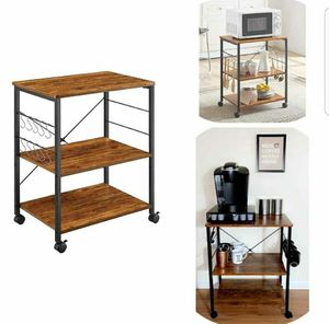 Kitchen Microwave Cart 3-Tier Kitchen Utility Cart Rustic Rolling Bakers Rack with 10 Hooks Storage for Sale in Toms River, NJ
