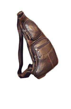 Men Vintage Leather Chest Sling Bag Travel Backpack Crossbody Shoulder Day Pack for Sale in North Bay Village, FL
