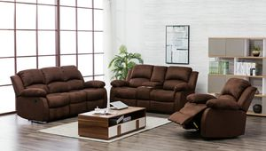 New 3pc. Chocolate Recliner living room set for Sale in Austin, TX