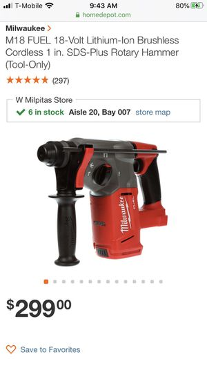 """New Milwaukee m18 fuel 1"""" SDS Plus Rotary Hammer drill for Sale in San Jose, CA"""