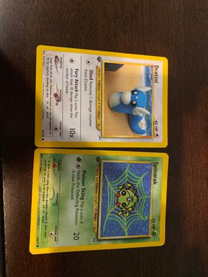 2 first addition Pokémon cards (dratini, and spinarak) for Sale in Gresham, OR