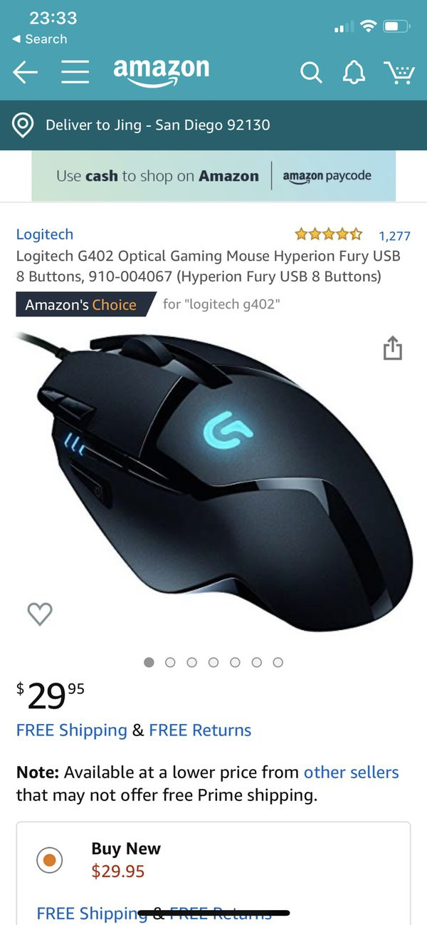 Logitech G402 Optical Gaming Mouse Hyperion Fury USB 8 Buttons