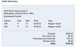 Washington Nationals Game 5 NLCS against St Louis Cardinals 2 tickets for Sale in Hampton, VA