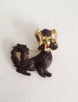 Yorkie dog metal brooch pin Dark brown Green rhinestone eyes Red rhinestone mouth Rhinestone collar 1 1/2 inch by 1 1/2 inch Unmarked New without tags for Sale in Houston,  TX