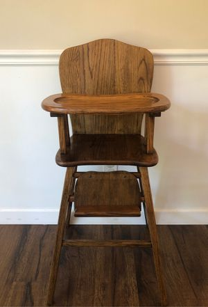 Functional antique wooden high chair for Sale in Douglasville, GA