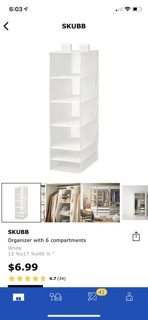 Ikea skubb organizer hanging closet storage for Sale in Miami, FL
