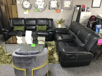 Black Leather Recliner Sofa AND Loveseat 5 for Sale in Irving,  TX