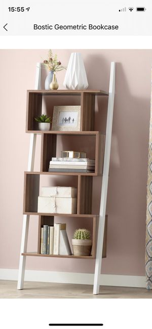 Mercury Geometric Bookcase (Light Walnut/white) for Sale in Brooklyn, NY