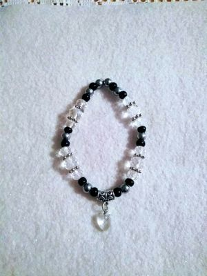 Handcrafted black, clear and gray bracelet with heart charm for Sale in Colton, CA