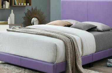 No Credit Needed New Box Purple Color Queen Size Bed Frame With Mattress Set for Sale in University Park,  MD