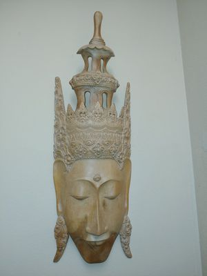 Indonesian Buddha Mask (Solid Wood) for Sale in Kissimmee, FL