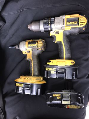 DeWALT 18V DRILL/DRIVER/HAMMERDRILL AND IMPACT SET WITH 3 Batteries for Sale in Frankfort, KY