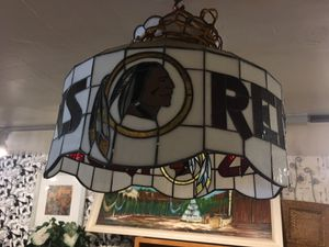 Antique vintage stained glass chandelier lamp light football redskins for Sale in San Diego, CA