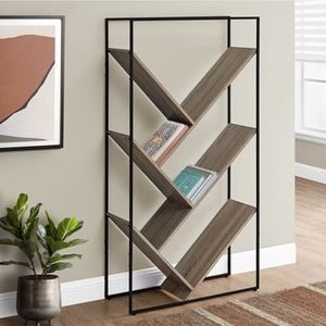 New Monarch Specialties Bookcase Dark Taupe Finish and Black Metal - 60-in H DESCRIPTION: 5-tier etagere bookshelf with slanted shelves that form V-sh for Sale in Houston, TX
