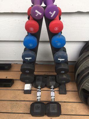 Dumbbells - weight rack - arm blaster - home gym equipment for Sale in Mercer Island, WA