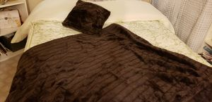 Rich Chocolate Brown Faux Fur Blanket & Pillow for Sale in Tustin, CA