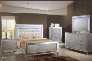 Queen Size LED Bed with Dresser, Mirror, and Nightstand. $53 Down. financing available. 786📞322📞6411 for Sale in Hialeah, FL