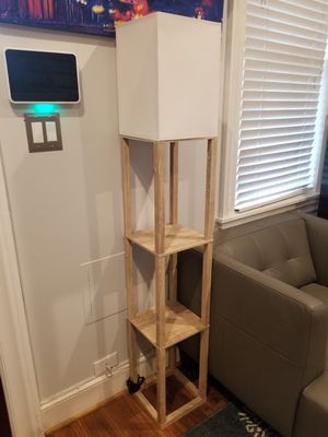 Wooden floor standing lamp with 2 built in shelves for Sale in Washington, DC