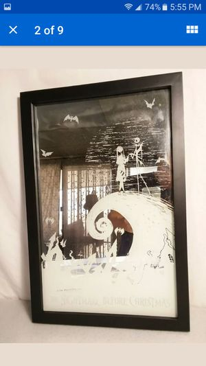 Nightmare Before Christmas Etched Mirror Jack and Sally on Hill by Neca Disney for Sale in Hawaiian Gardens, CA