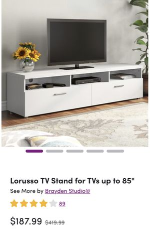 """White TV stand , up to 85"""" for Sale in San Jose, CA"""