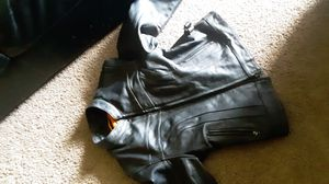 First mfg co leather top notch motorcycle jacket large for women medium for men for Sale in Chandler, AZ