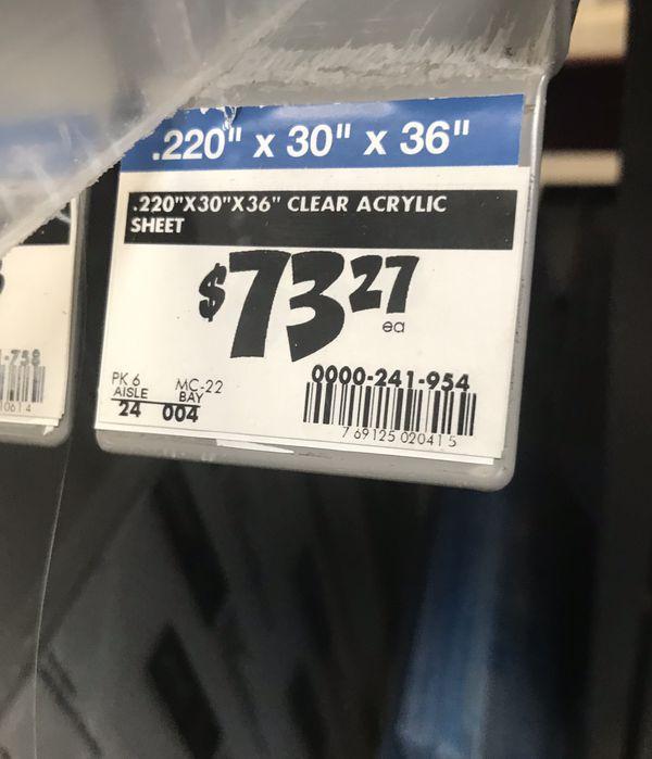 """New 1/4"""" thick clear plexiglass"""