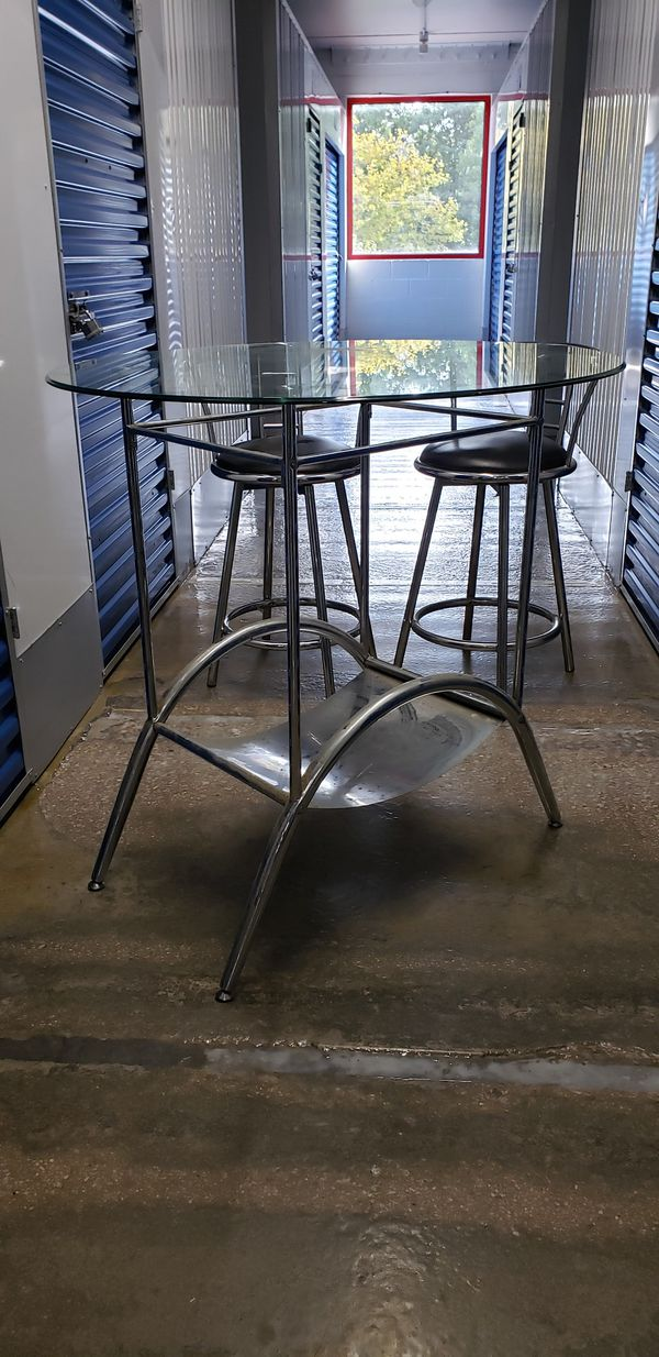 Chrome Counter height Round Glass Top Set