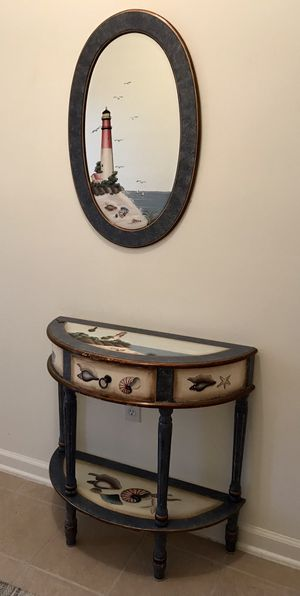 Beach Themed Table with Matching Mirror for Sale in Little Egg Harbor Township, NJ