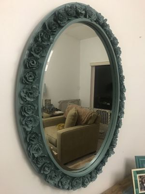 Gorgeous oval mirror with hand made flowers! for Sale in Cutler Bay, FL