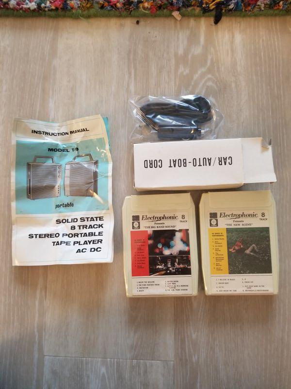 Vintage portable 8 track player mib