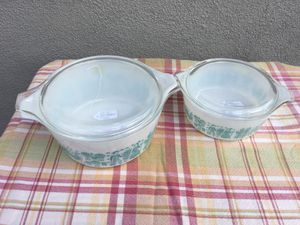 Pyrex turquoise butterprint casserole dishes for Sale in Anaheim, CA