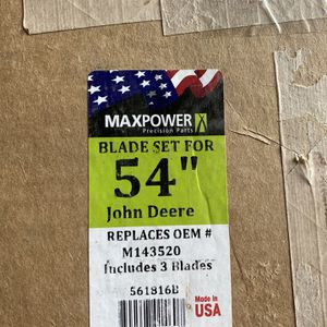 Max Power Blade Set For 54 Inch John Deere—Replaces OEM M143520 for Sale in Lancaster, PA