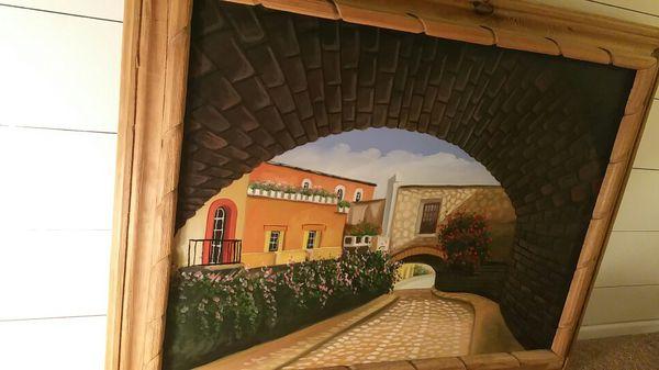 Beautiful oil painting of Spanish hacienda