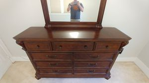 Dark Cherry Solid Wood Dresser with mirror for Sale in Wyandotte, MI