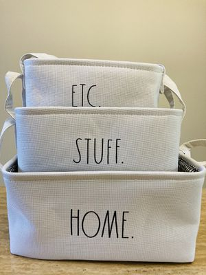 RAE DUNN Storage Organizer Baskets Set of 3 - White Fabric Container Flat Bins for Sale in Miami, FL